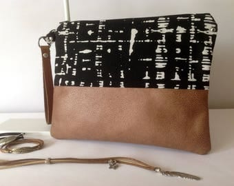 Pocket bi-material printed cotton canvas and faux leather with leather strap
