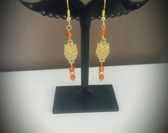 Golden OWL earrings orange