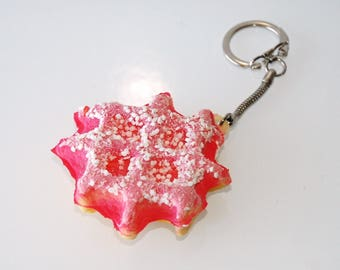 Waffle with Strawberry light and fluffy keychain
