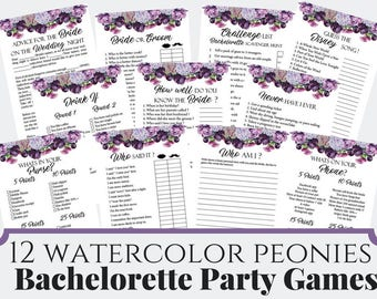 12 Watercolor Peonies Bachelorette Party Games, Printable Bachelorette Party Game, Bridal Shower Game, Hens Night Game
