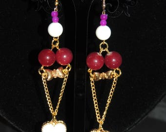 True Love Dangle Earrings! Cherry Blossom Agate Gemstone! Hanging gold Chain Earrings! Vimas Bijou Heart!