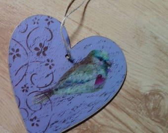Bird purple wooden heart