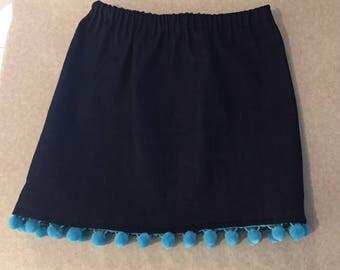 Girls denim gathered waist skirt with aqua pompoms - size 6