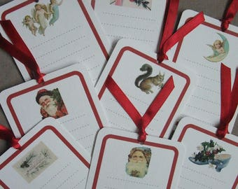 Set of 8 Christmas cards Red