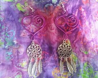 Purple Heart Wire Earrings w/Charms