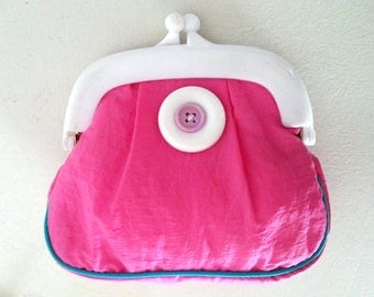 Pink girly purse clasp and two white balls - 1980