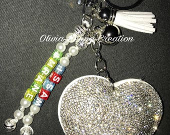 Personalized Keychain - silver heart