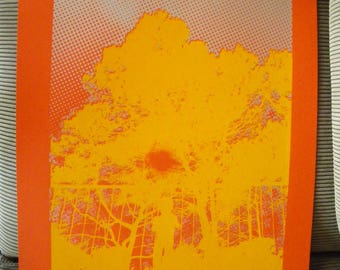 Craft(home-made) screenprinting 2 colors on canson ORANGE