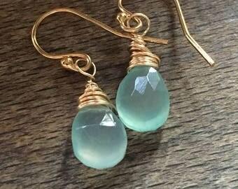 Aqua chalcedony 14k gold filled earrings