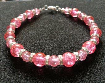 312. Cerise Pink Beaded Bracelet
