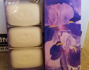 Iris Soap Florence Italy 3 Bars 5.25 Ounces Each Perfumed to Iris