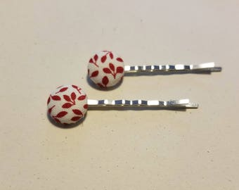 Red Leaf Fabric Button Bobby Pin