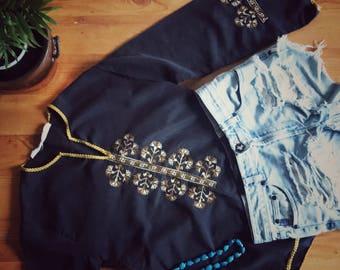 Eleni •Vintage tunic •Embroidered •Charcoal grey