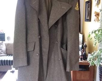 Original Vintage Wool Dutch wool long Legerjas from 40s