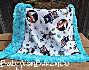 BabySizeShipsNow - Woodland Minky Baby Blanket - Crib Blanket