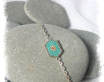hexagonal bracelet turquoise and peach