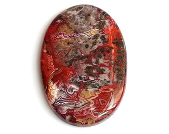 Crazy Lace Agate Oval Cabochon, Natural Lace Agate Designer Cabochon, 42x28 MM, 48 Cts, Crazy Lace Agate Stone, Loose Cabochon.