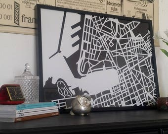 Map poster of Marseille in black & white on matte paper