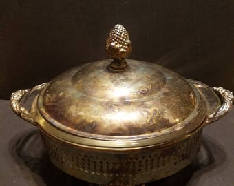 Fire King  Casserole Dish with Metal Stand