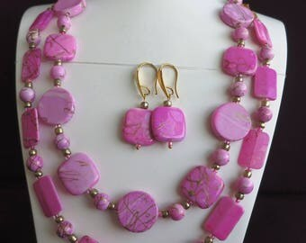 Necklace double strand pink and gold with earrings