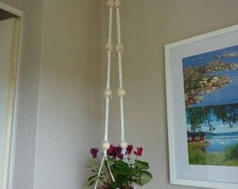 Hanging basket candleholder macrame