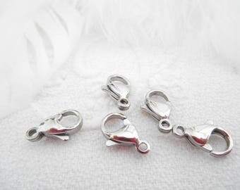 A set of 5 clasps 12 mm lobster clasp stainless steel.