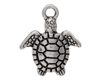 x 2 turtle charms 16 mm silver plated pendants.