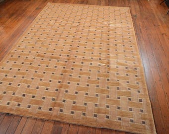 Chinese Contemporary Rug, 6'x9', Beige/Gold, All wool pile