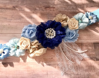 Royal Blue, Baby Blue and Cream Pregnancy Maternity Sash Baby Shower Gender Reveal Party Photo Prop Gift Keepsake