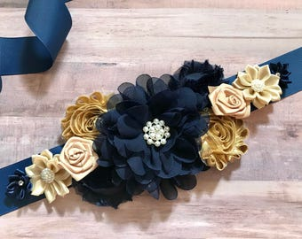 Gold and navy blue Maternity Sash Pregnancy Sash Gender Reveal Party Baby Shower Gift Keepsake Flower Sash