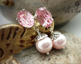 These glamorous earrings pearls, pink quartz crystal