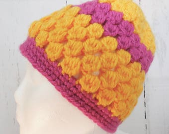 Handmade crochet winter hat using puff stitch