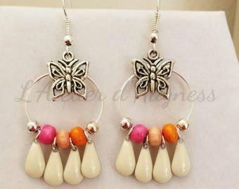 Earrings hoop earrings silver metal butterflies