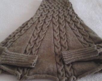 Green/Tan wool poncho