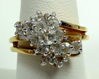 Gorgeous Gold Tone Dinner Ring with Sparkling Rhinestones size:8 ET7809