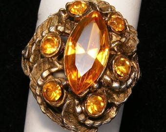 VTG Orange-Tangerine Rhinestone Ring Gold Tone Mounting Exquisite Style sz:7-adjustable ET0286