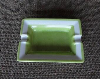 Handpainted in green white porcelain rectangular ashtray