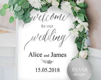 Wedding Welcome Sign Template, Welcome Wedding Sign, Welcome Wedding Printable, Wedding Poster, Silver Wedding, Instant Download #HQT011_12s