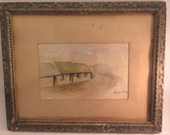 Antique watercolor architectural painting of poet Robert Burns's house in Scotland