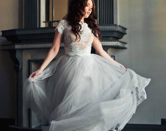 Wedding Lace Top , Tulle skirt , Blush Grey Ivory Wedding Dress , Wedding Dress, Bridal Separates , Long tulle skirt , Long tulle dress