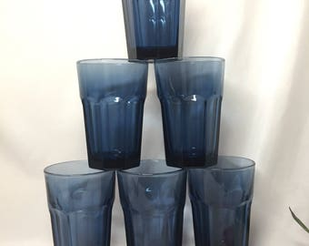 Libbey Duratuff Drinking Glasses Empire Blue - set of 6