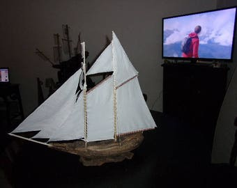 cotton sail Driftwood sailboat
