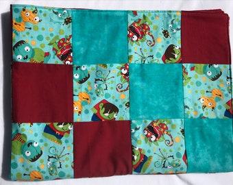 Little Monsters oversized Semi Quilt Baby Blanket