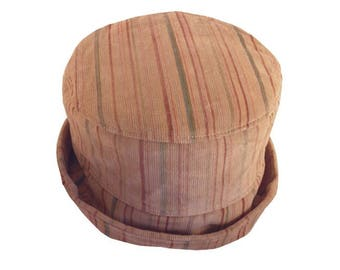 Hat in Beige velvet and colorful stripes