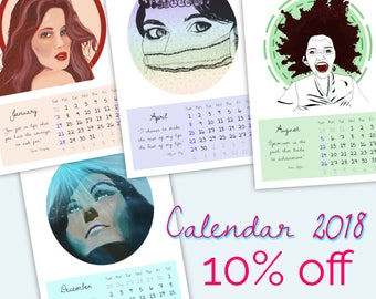Wall calendar 2018, sizes A4 and A3. Art calendar. Gift for her. Ladies portraits. Modern portraits.