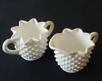Vintage Fenton Hobnail Milk Glass Sugar And Creamer.