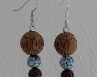 Wooden earrings - three beads