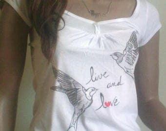 Little bird white t-shirt, unique piece