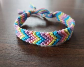 Made to order - 4 colour chevron style friendship bracelet (Wider style)