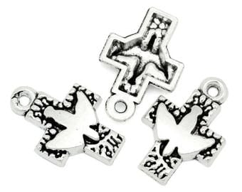 Large cross with silver metal bird charm antiqued (x 2)